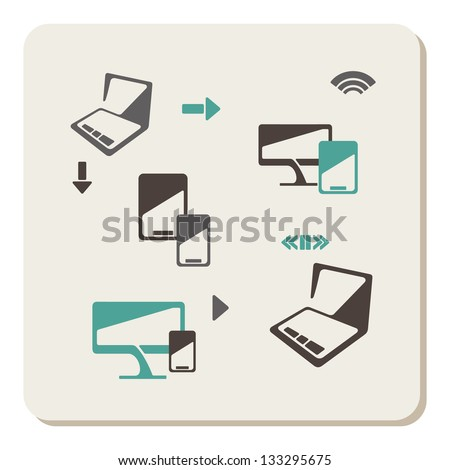 Network and mobile devices icons - stock vector