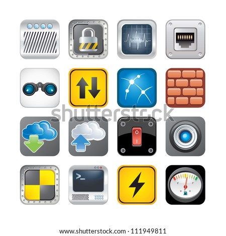 network app icons - stock vector