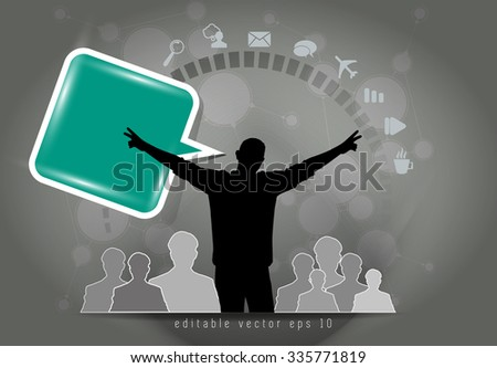 Network background and social media, communication icons - stock vector