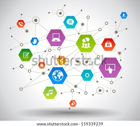 Network background with nodes and social media, communication icons . File is saved in AI10 EPS version. This illustration contains a transparency    - stock vector