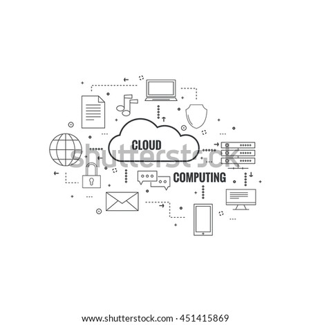 Network cloud computing. Web hosting and cloud technology. Database protection security. Global data transfer and storage  server. Communication technologies connecting different devices. - stock vector