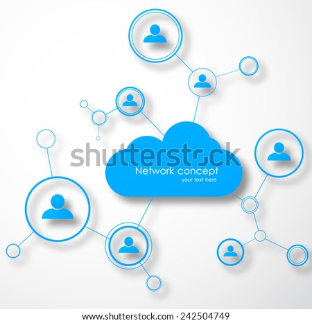 Network cloud concept. Social technology vector illustration - stock vector