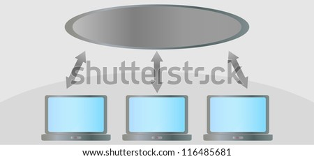 Network, Cloud hosting, connection - stock vector