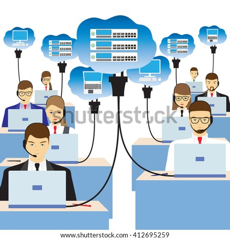 Network cloud technology. People sitting at the table and working on the network. Support service. Call center. - stock vector