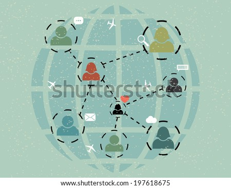 network communication. abstract retro poster. vector eps10 - stock vector