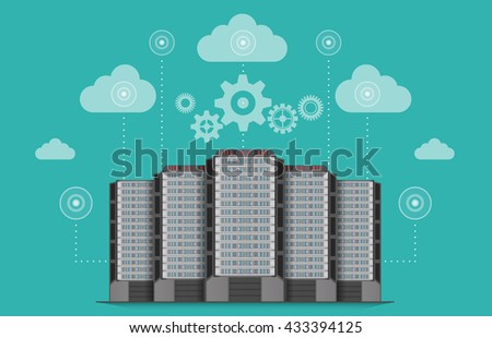 Network communications server computer concept. - stock vector