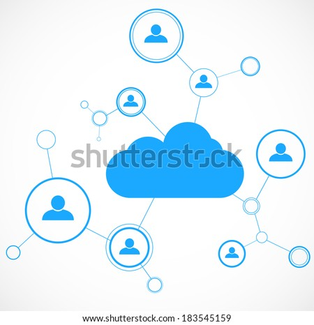 Network concept. Cloud technology. Social networking. Design template. Vector illustration - stock vector