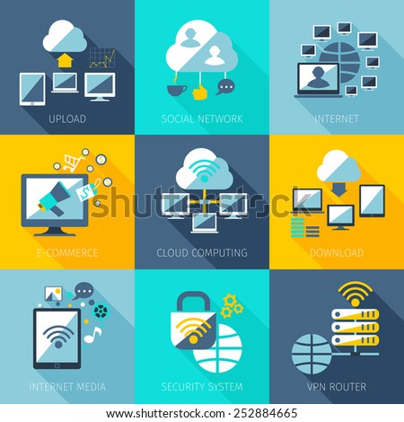 Network concept set with upload social network internet icons set isolated vector illustration - stock vector