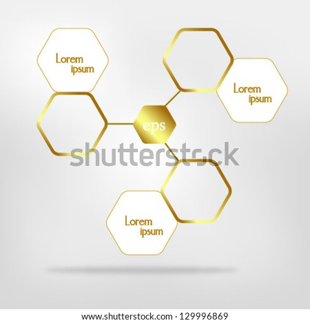 Network connected speech diagram. Gold presentations with text box - stock vector