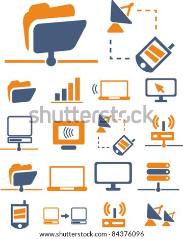 network & connection icons, signs, vector illustration set - stock vector
