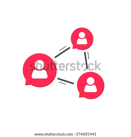 Network connection symbol, social service concept, abstract network people chatting, concept of community relationship, relation, conference communication service modern simple flat design isolated  - stock vector