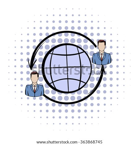 Network connections between people comics icon on a white background - stock vector