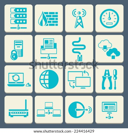 Network data security web control technology flat button icons set isolated vector illustration - stock vector