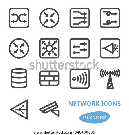 Network Devices Icon Set; Network Design Icon Set; Network Icons; Network Icon Set; Network Design Scheme Icons - Vector Illustration. Simplified line design.  Gray icons collection. - stock vector