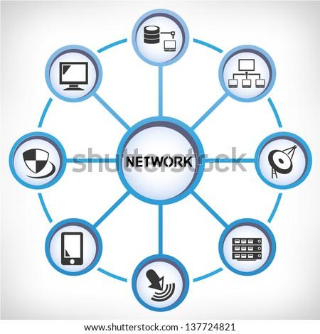 network diagram - stock vector