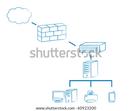 Network diagram connected to the Internet - stock vector