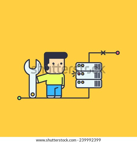 network engineer repair server. Conceptual illustration. line art style - stock vector