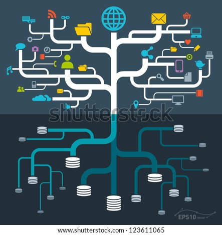 network file storage / vector - stock vector