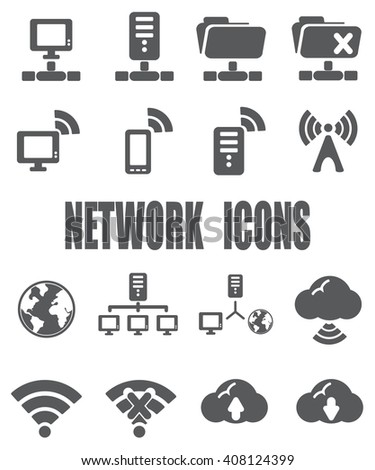 Network flat icon set - EPS 10 vector - stock vector
