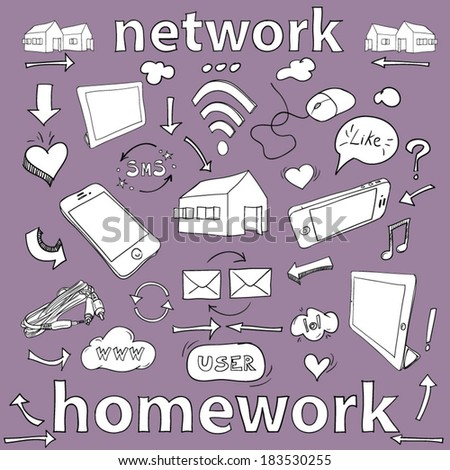 Network, hand drawn doodle set - stock vector