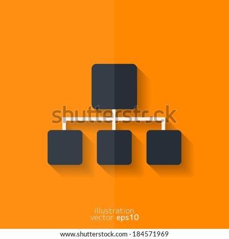 Network icon. Flat design. - stock vector