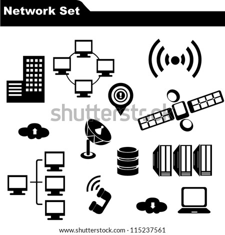 network icon set - stock vector