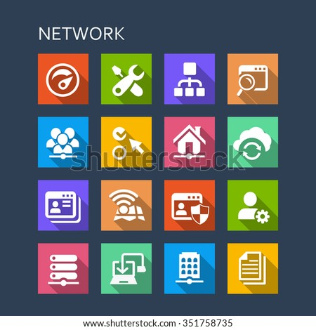 Network icon set - Flat Series with long shadows