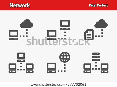 Network Icons. Professional, pixel perfect icons optimized for both large and small resolutions. EPS 8 format. Designed at 32 x 32 pixels. - stock vector