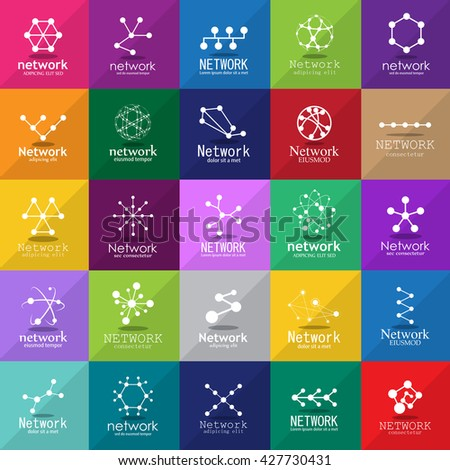 Network Icons Set - Isolated On Mosaic Background - Vector Illustration, Graphic Design  - stock vector