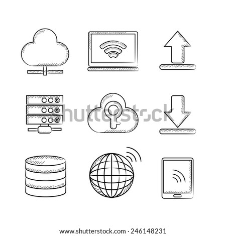 network icons, sketch icons - stock vector