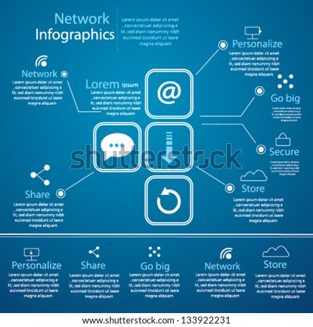 Network Infographics Set - stock vector