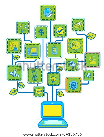 Network Internet Tree Technology Communication vector - stock vector