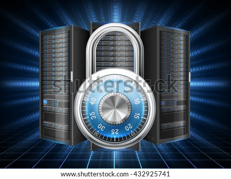Network safety concept - server closed with padlock, database security. Password requirement or access denied. EPS 10 contains transparency. - stock vector