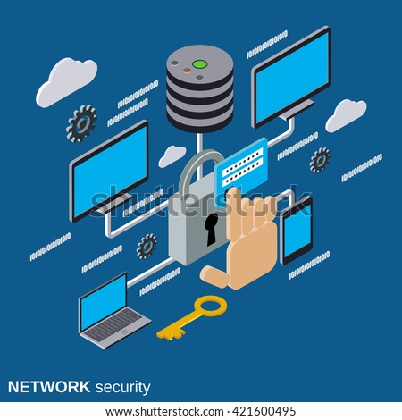 Network security, data protection flat isometric vector concept illustration - stock vector