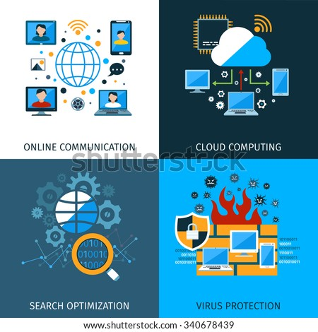 Network security design concept set with search optimization icons isolated vector illustration - stock vector