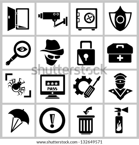 network security icon set - stock vector