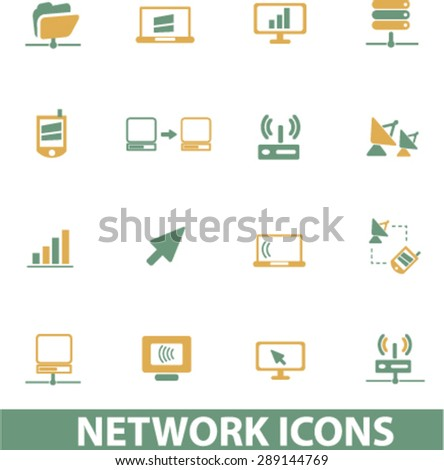 network, server, administration isolated icons, illustrations, vector - stock vector