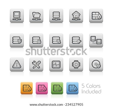 Network & Server Icons // Outline Buttons - Each color in a layer. To see the desired color, you need to make it visible in the layer panel -- EPS 10+ Contain Transparencies - stock vector