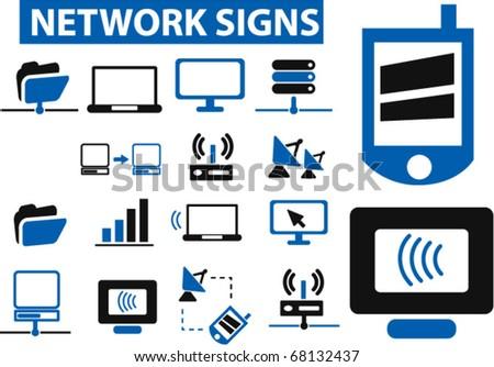 network signs. vector - stock vector