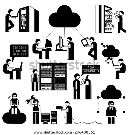 network technician in server room set, network people with cloud computing concept set - stock vector