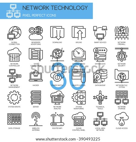 Network Technology , thin line icons set ,pixel perfect icons - stock vector