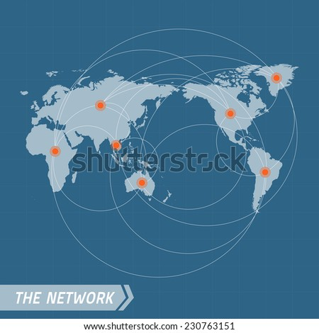 Network Vector Concept. World Map on dark blue background.  Vector illustration. Vector world map connection. Elements for design. - stock vector