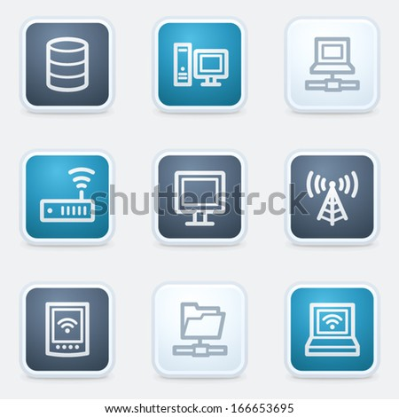Network web icon set, square buttons - stock vector