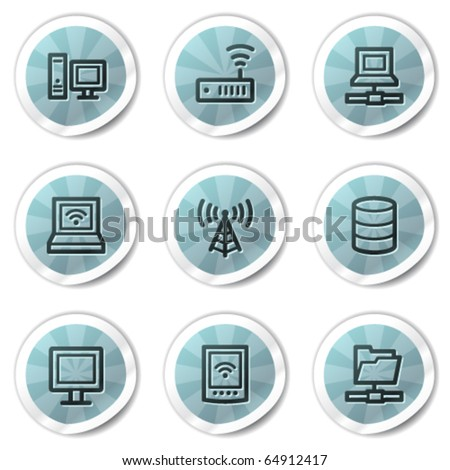 Network web icons, blue shine stickers series - stock vector