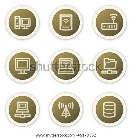 Network web icons, brown circle buttons series - stock vector