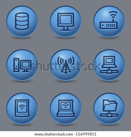 Network web icons, circle blue buttons - stock vector