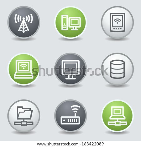 Network web icons, circle buttons - stock vector