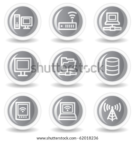 Network web icons, circle grey glossy buttons - stock vector