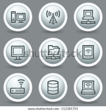 Network web icons, circle grey matt buttons - stock vector