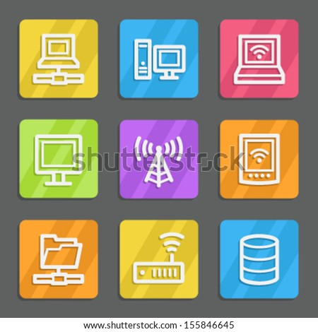 Network web icons, color flat buttons - stock vector